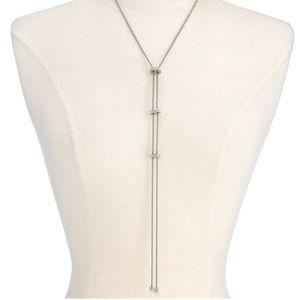 INC Silver-Tone Pavé Rondelle Bead Lariat Necklace